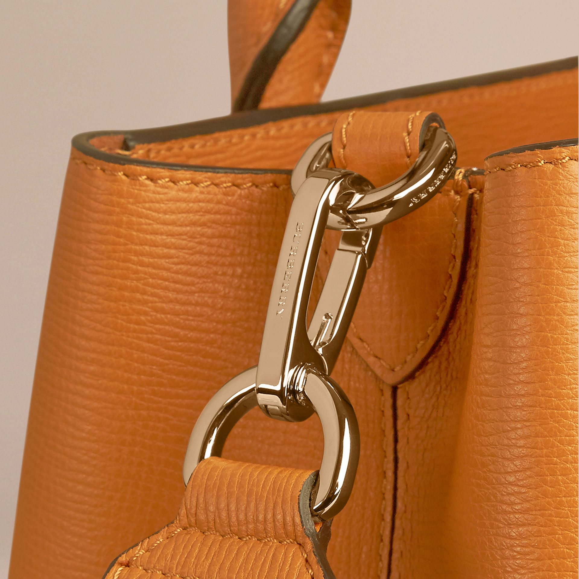 Cognac The Medium Saddle Bag in Grainy Bonded Leather Cognac - gallery image 6