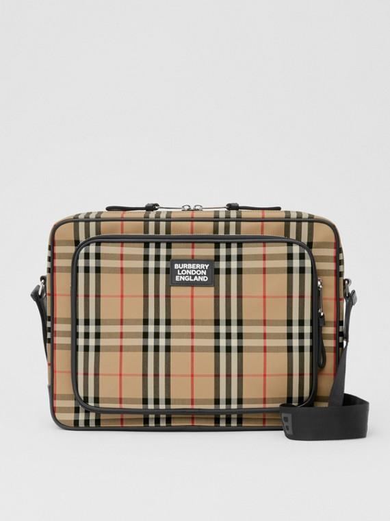 Messenger-Tasche aus Baumwolle im Vintage Check-Design (Vintage-beige)