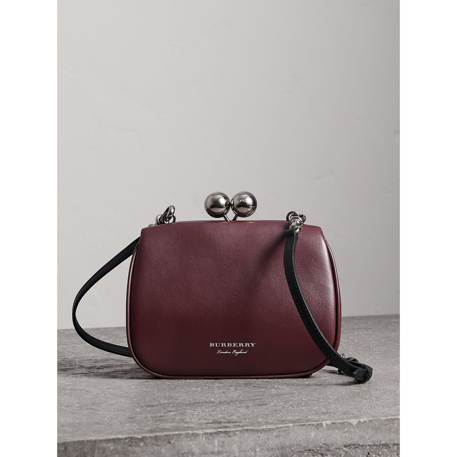 Small Leather Metal Frame Clutch Bag in Burgundy - Women | Burberry - gallery image 0