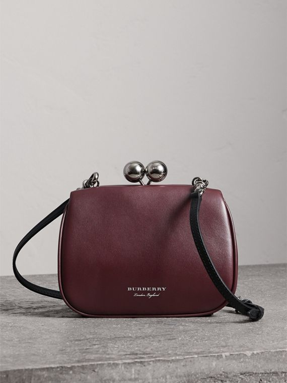 Small Leather Metal Frame Clutch Bag in Burgundy