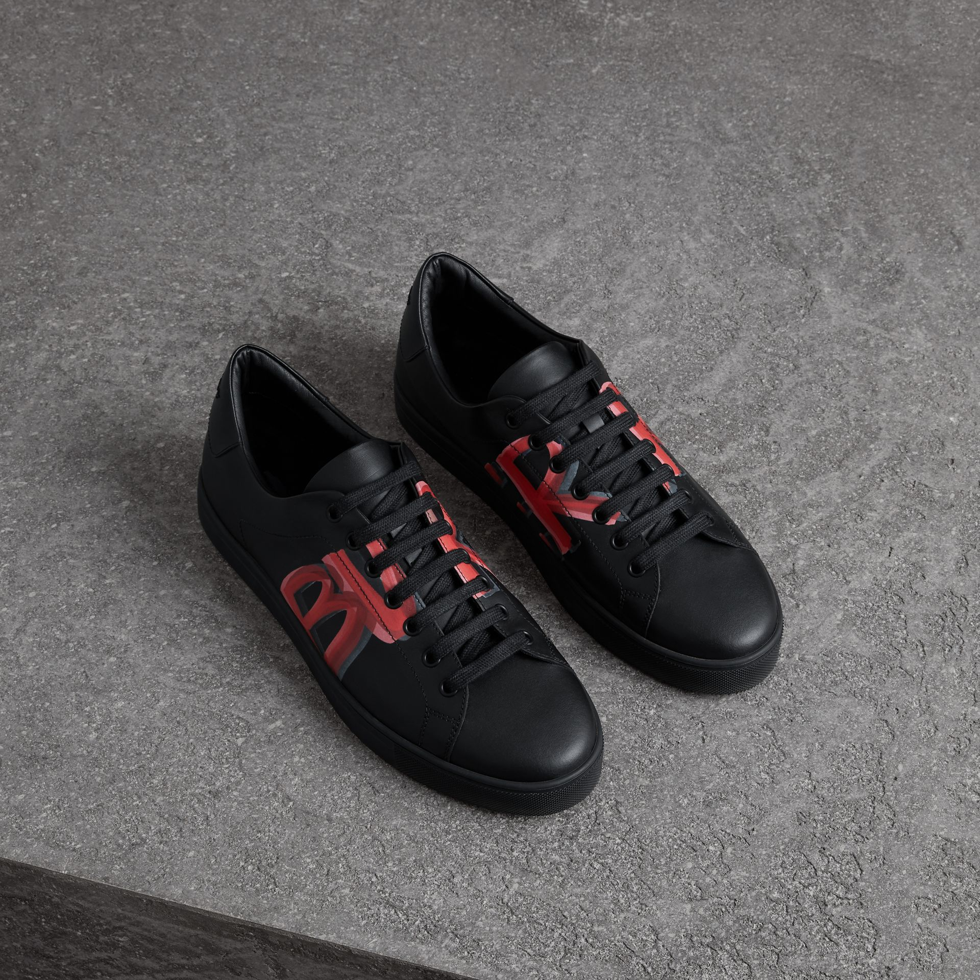 Logo Print Leather Sneakers in Black/bright Red - Men | Burberry Australia - gallery image 0