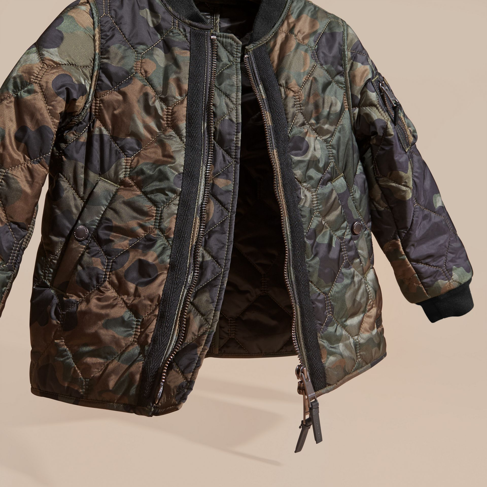 Dark cedar green Camouflage Quilted Nylon Bomber Jacket - gallery image 3