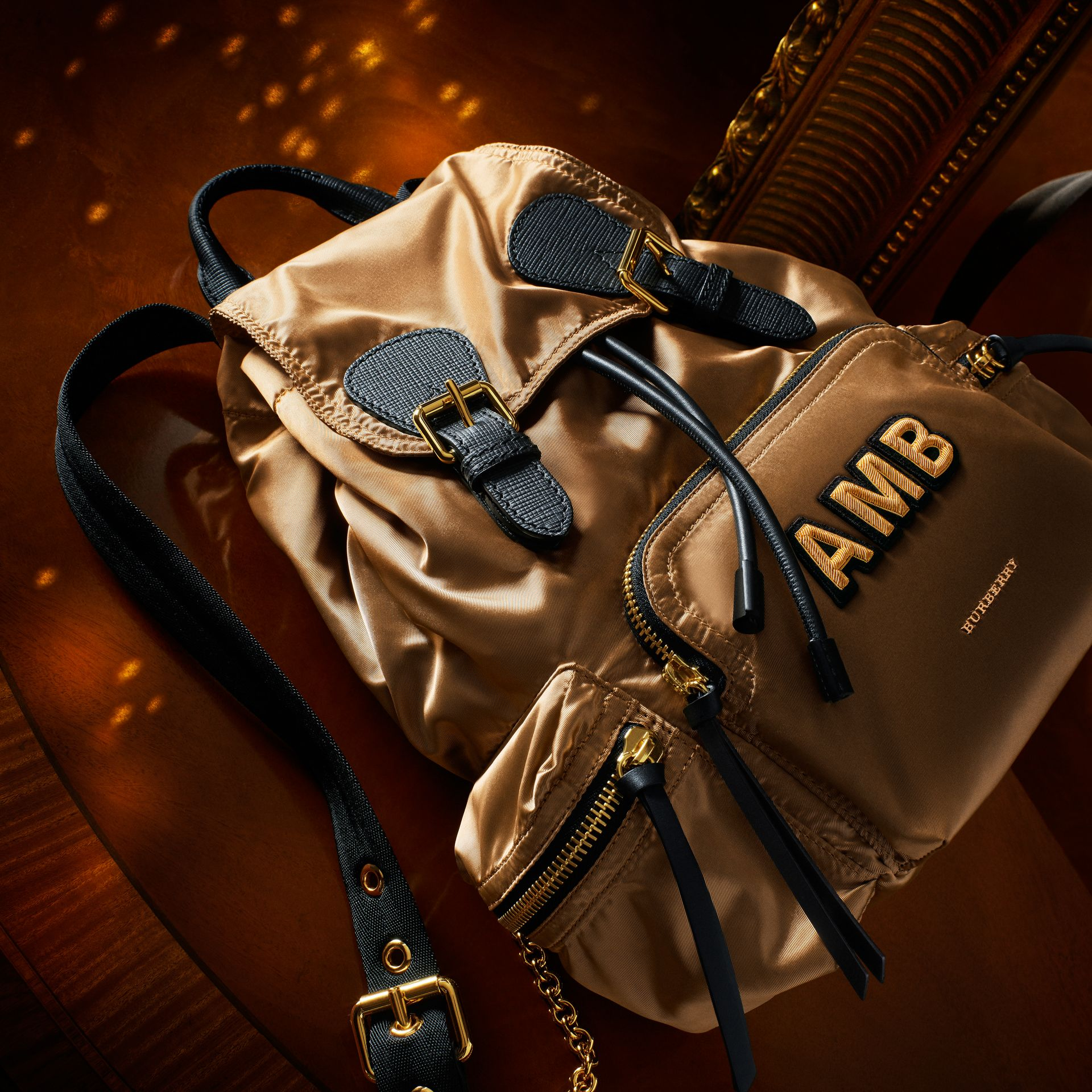 The Medium Rucksack in Two-tone Nylon and Leather Gold/black - gallery image 9