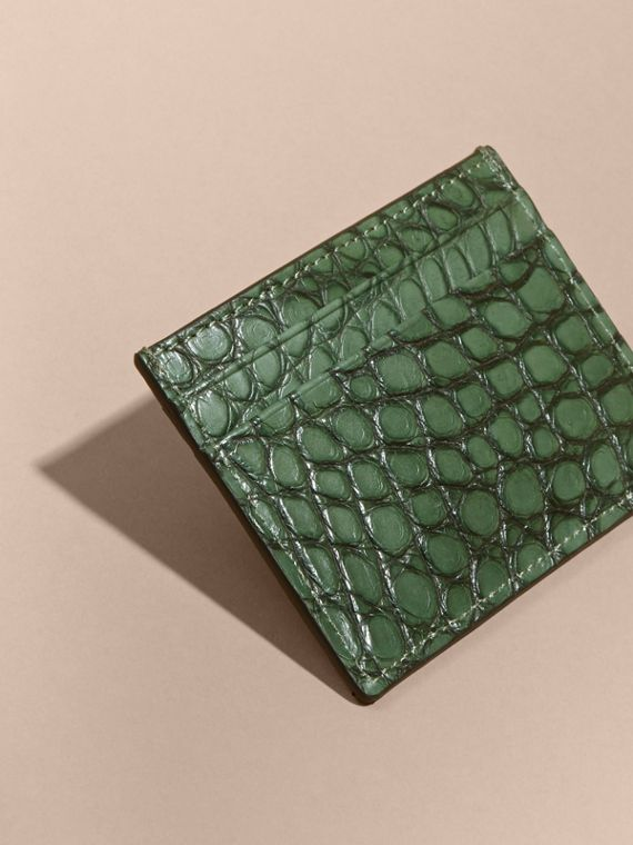 Sage Alligator Leather Card Case - cell image 3