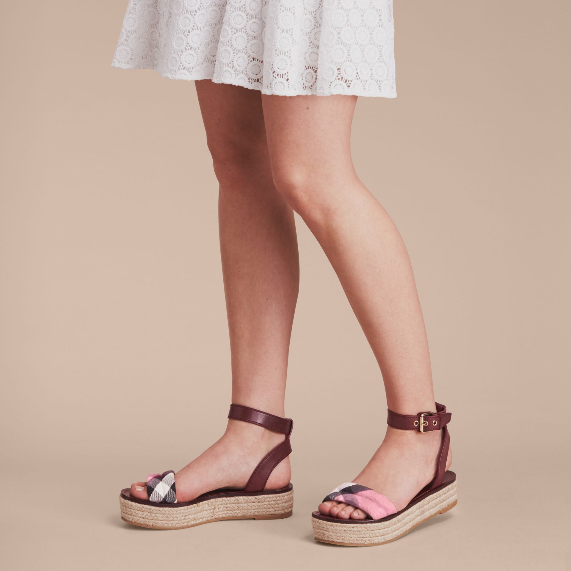 Leather and House Check Espadrille Platform Sandals in Cerise Purple - gallery image 3