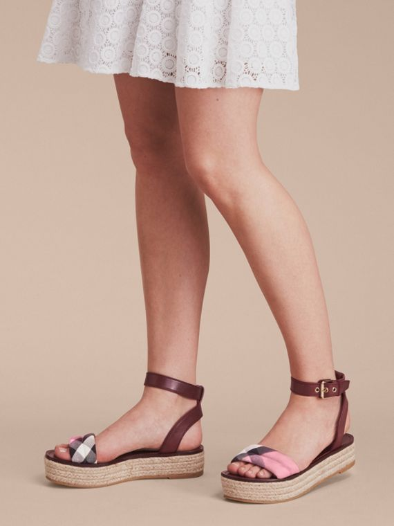 Leather and House Check Espadrille Platform Sandals in Cerise Purple - cell image 2