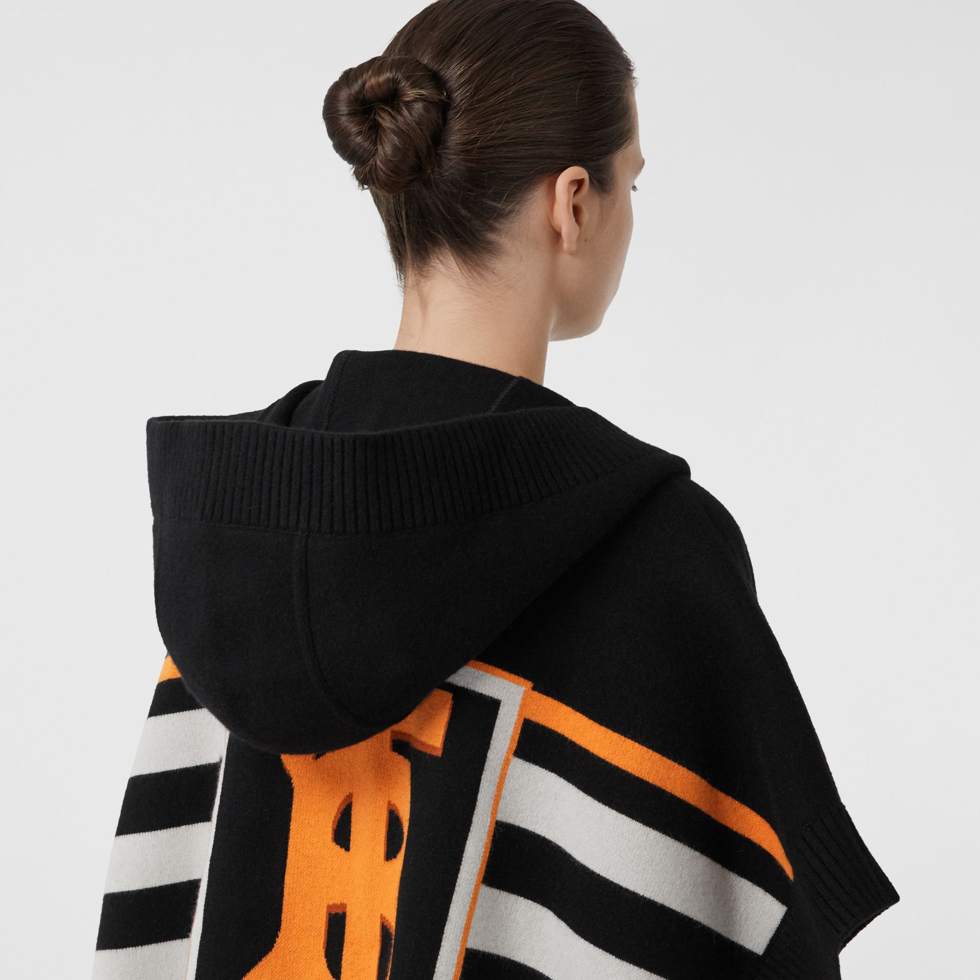 Monogram Motif Intarsia Wool Cashmere Blend Cape in Black - Women | Burberry Hong Kong S.A.R - gallery image 1