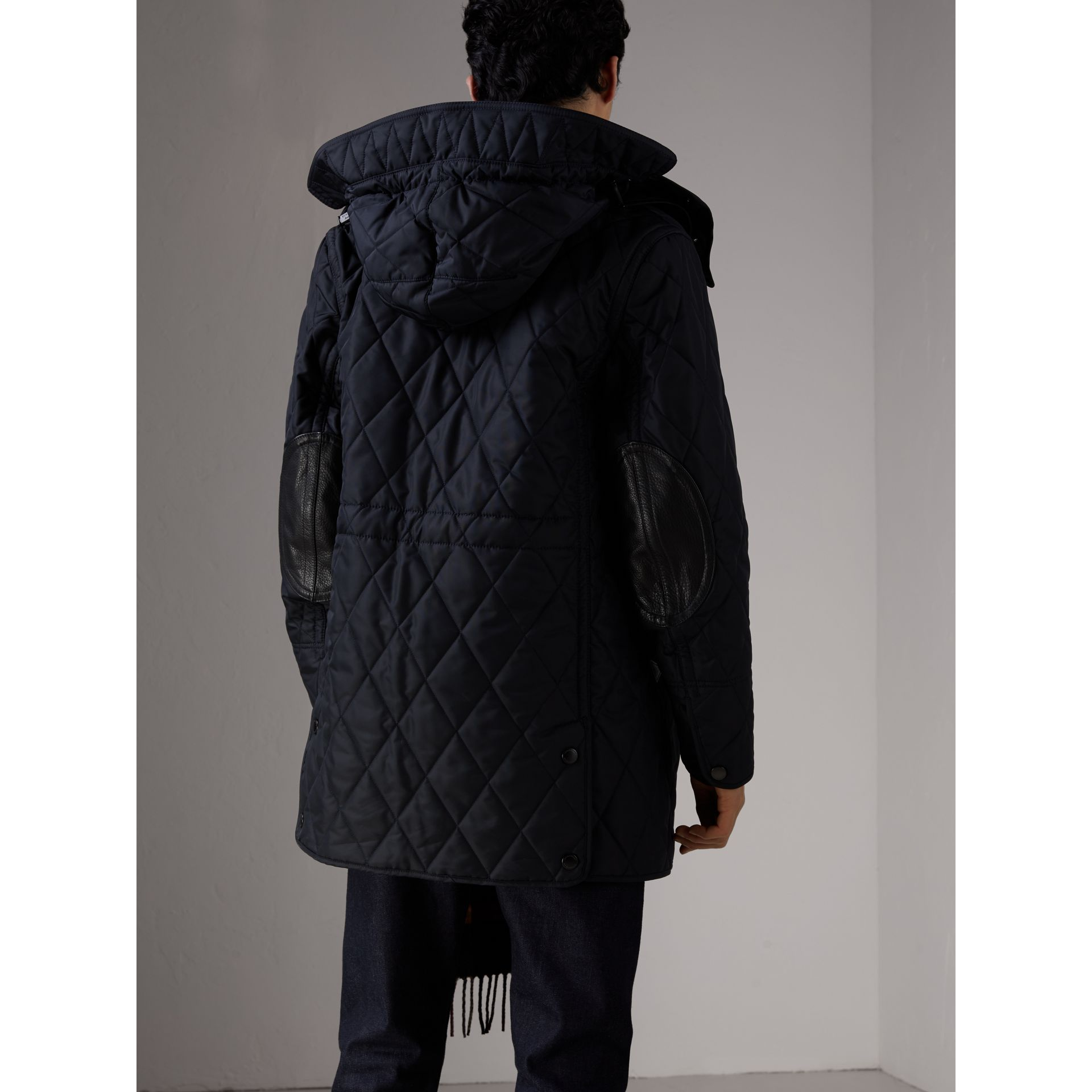 Detachable Hood Diamond Quilted Jacket in Navy - Men | Burberry - gallery image 2