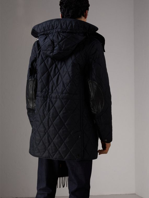 Detachable Hood Diamond Quilted Jacket in Navy - Men | Burberry - cell image 2
