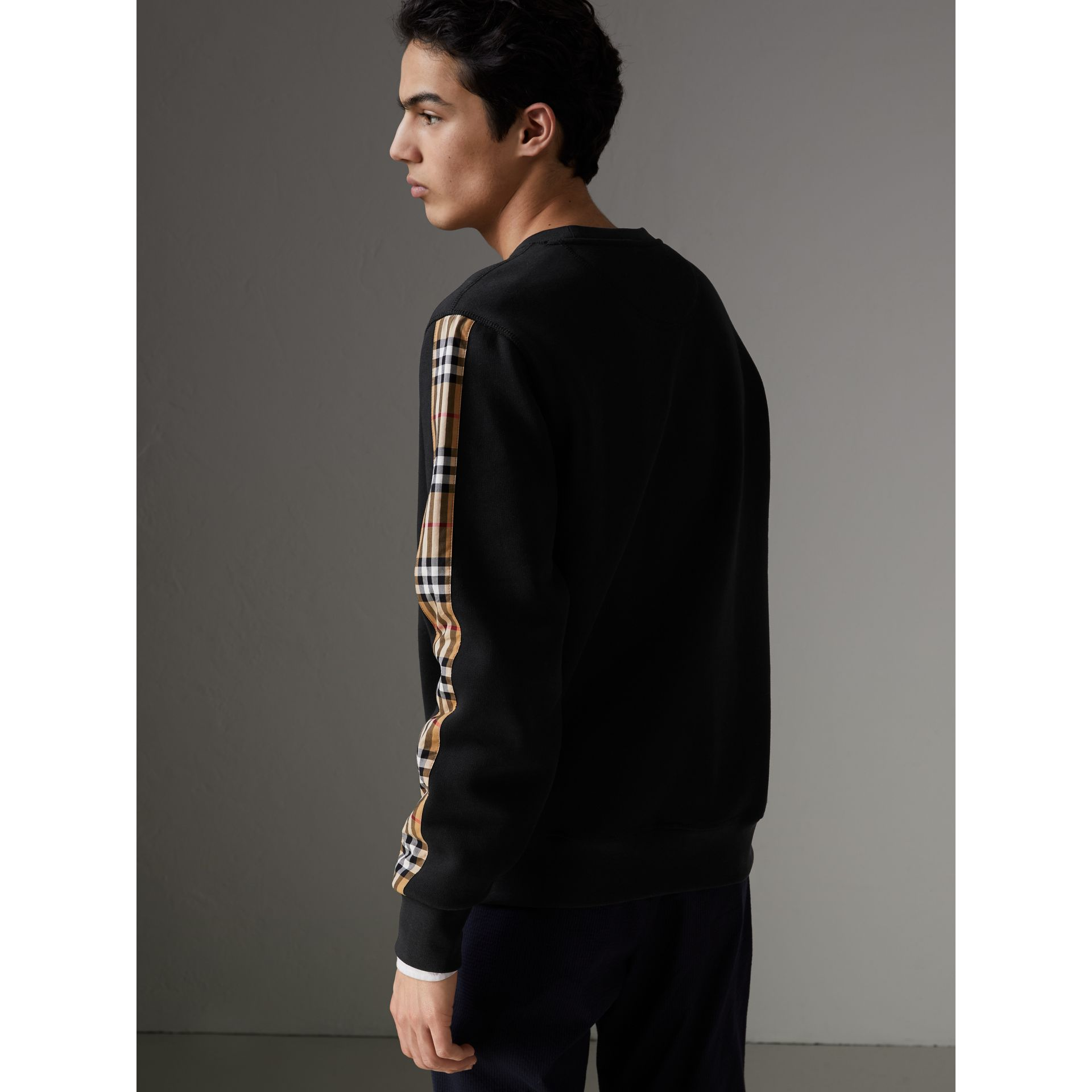 Vintage Check Detail Cotton Blend Sweatshirt in Black - Men | Burberry Singapore - gallery image 2