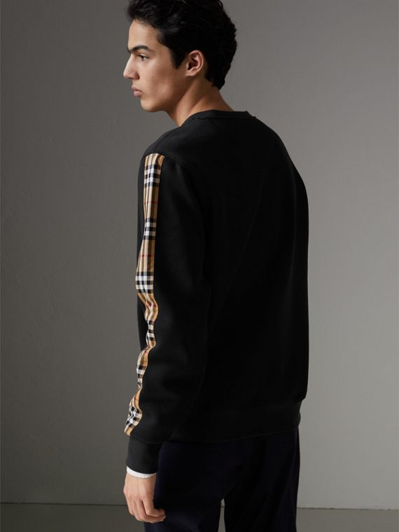 Vintage Check Detail Cotton Blend Sweatshirt in Black - Men | Burberry Singapore - cell image 2