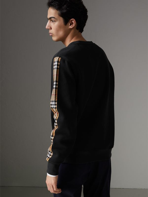 Vintage Check Detail Cotton Blend Sweatshirt in Black - Men | Burberry Hong Kong - cell image 2