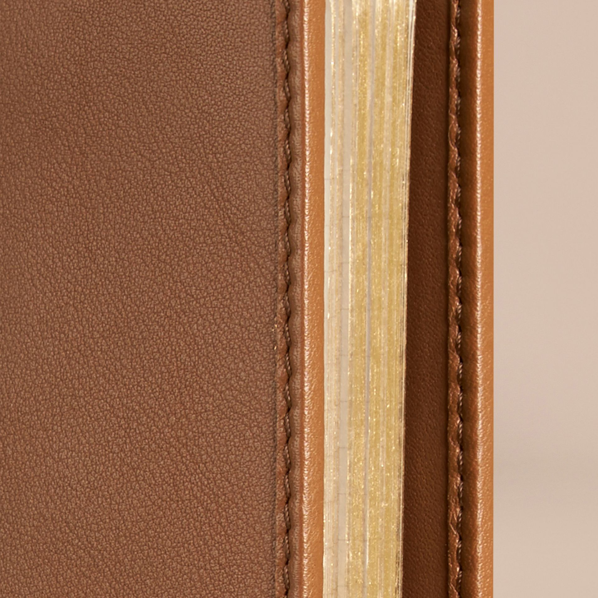 Tan Check Detail Grainy Leather A5 Notebook - gallery image 2