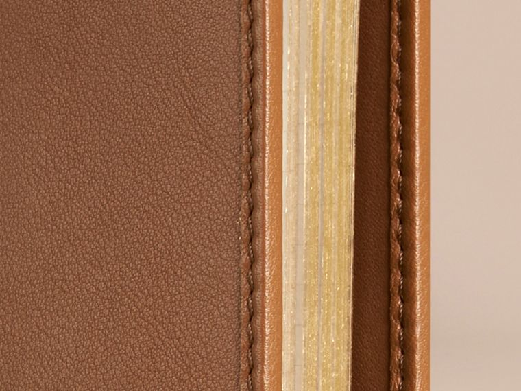 Tan Check Detail Grainy Leather A5 Notebook - cell image 1