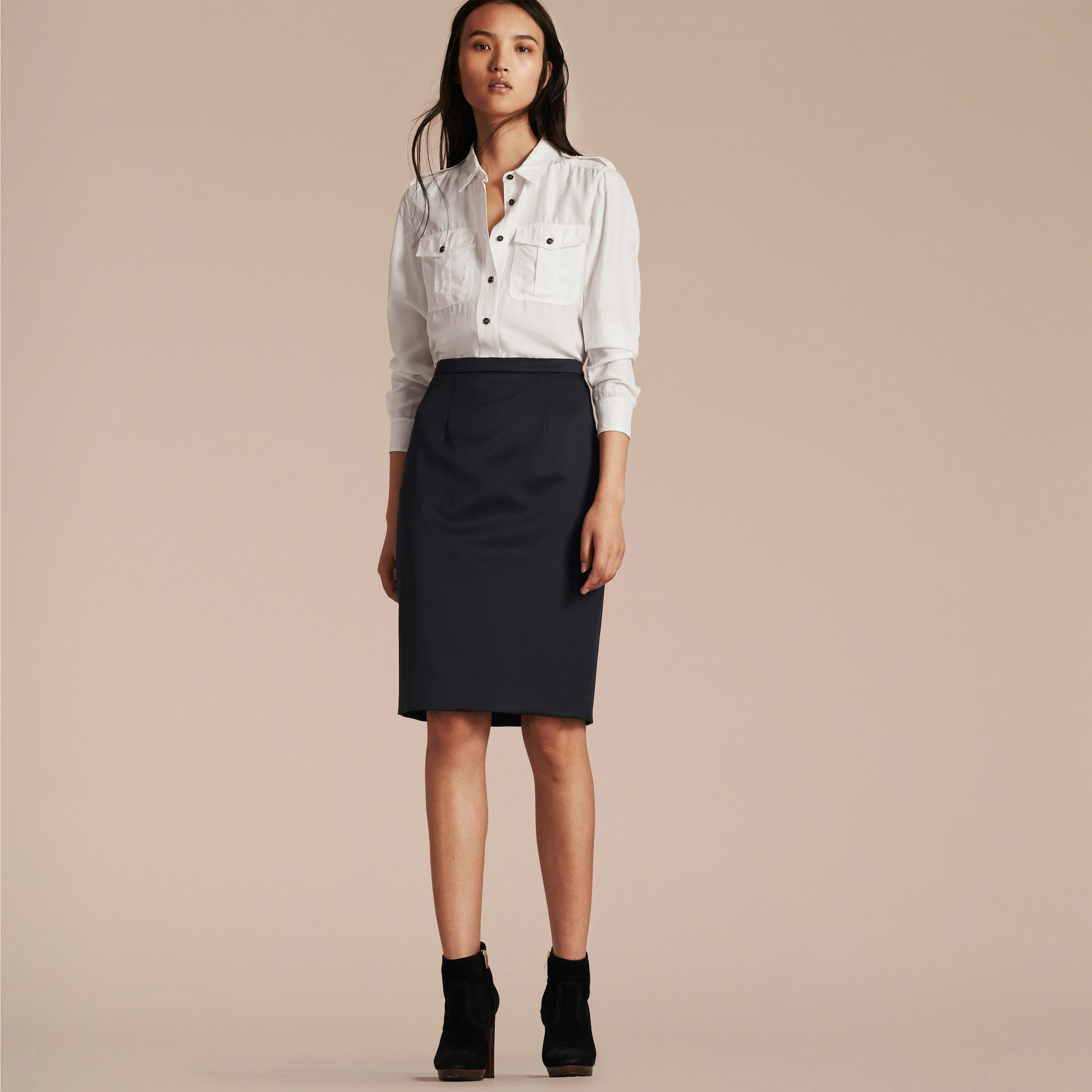Stretch Virgin Wool Tailored Pencil Skirt Ink - gallery image 6