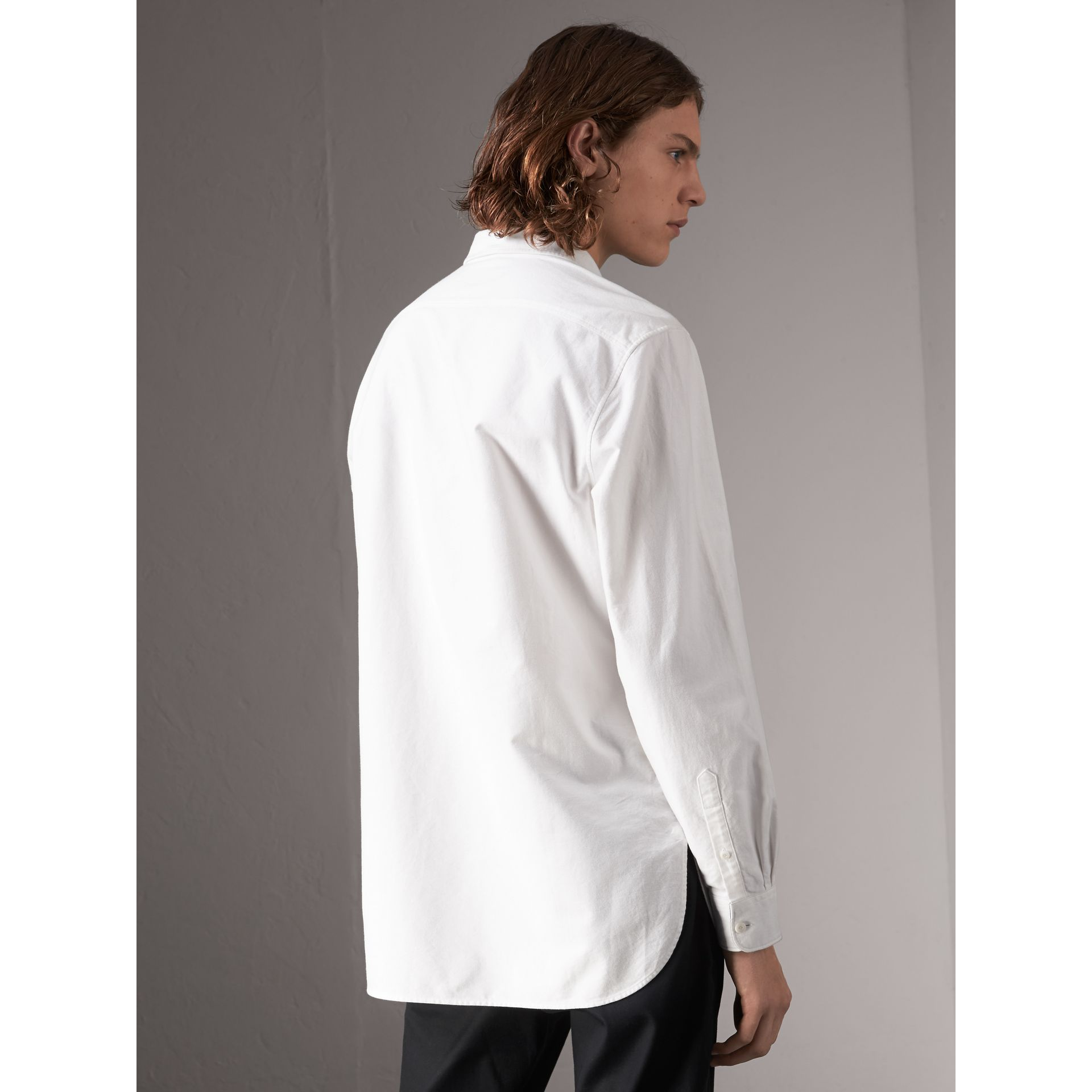 Cotton Oxford Shirt in White - Men | Burberry Australia - gallery image 3