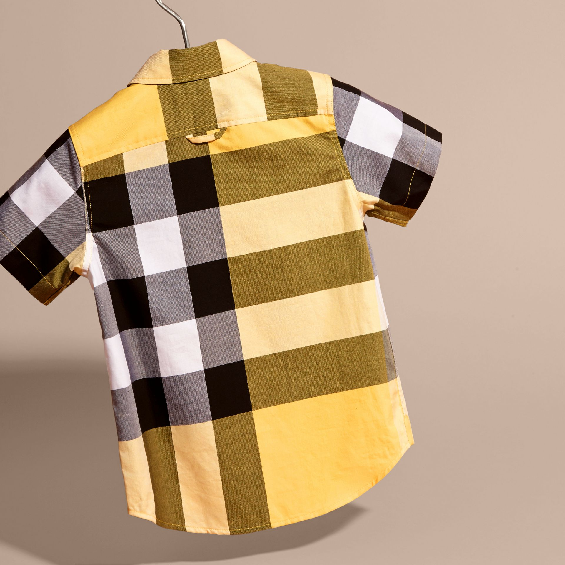 Short-sleeved Check Cotton Shirt Bright Yellow - gallery image 4