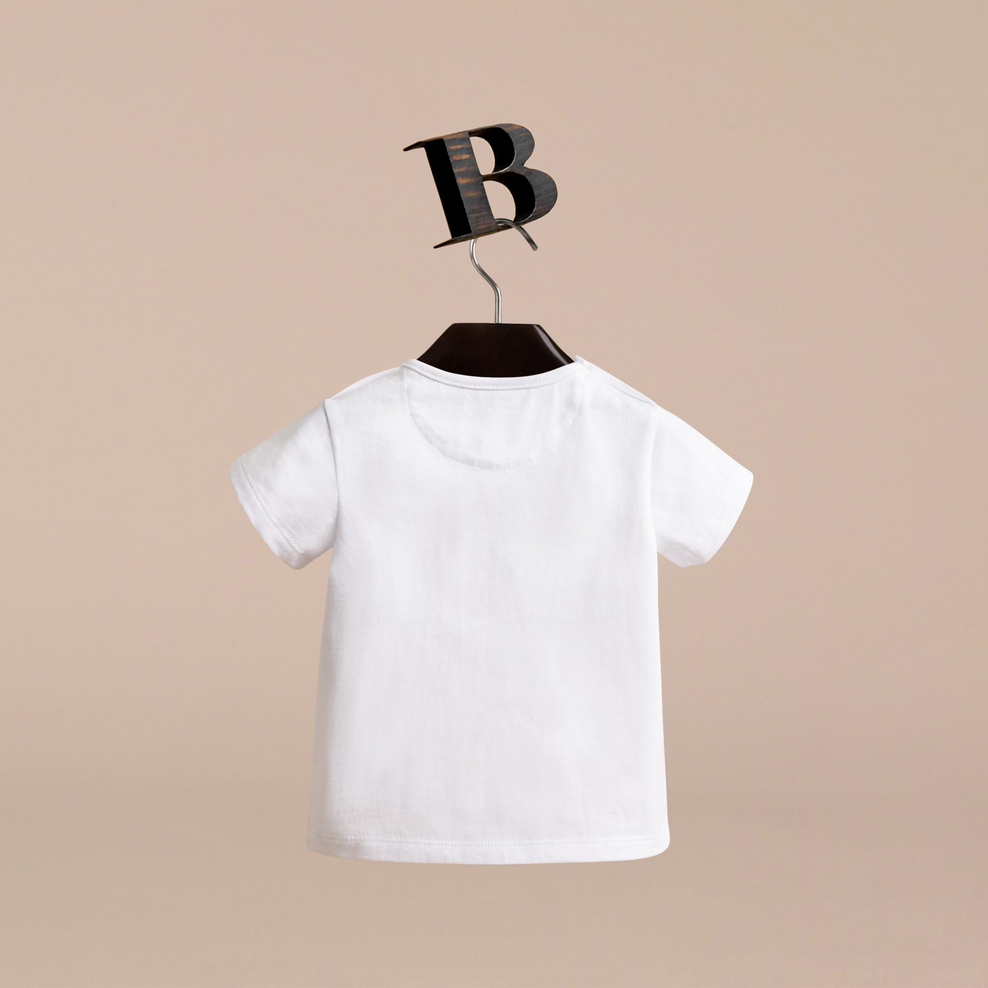 London Icons Print Cotton T-shirt in White | Burberry - gallery image 4