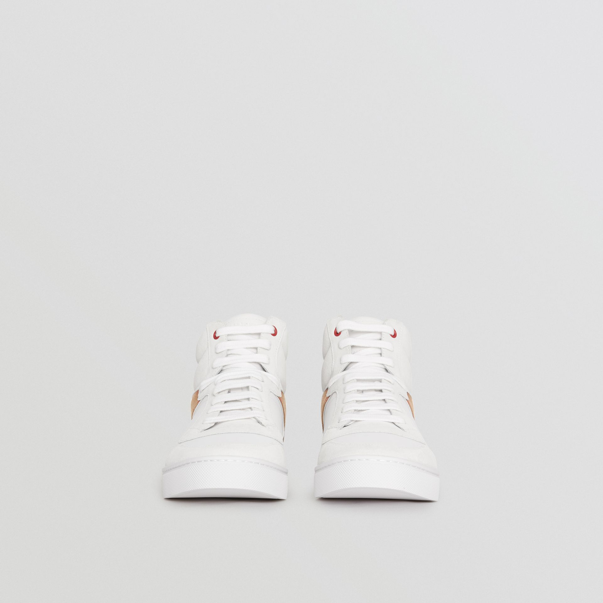 Leather and House Check High-top Sneakers in Optic White - Men | Burberry United Kingdom - gallery image 3