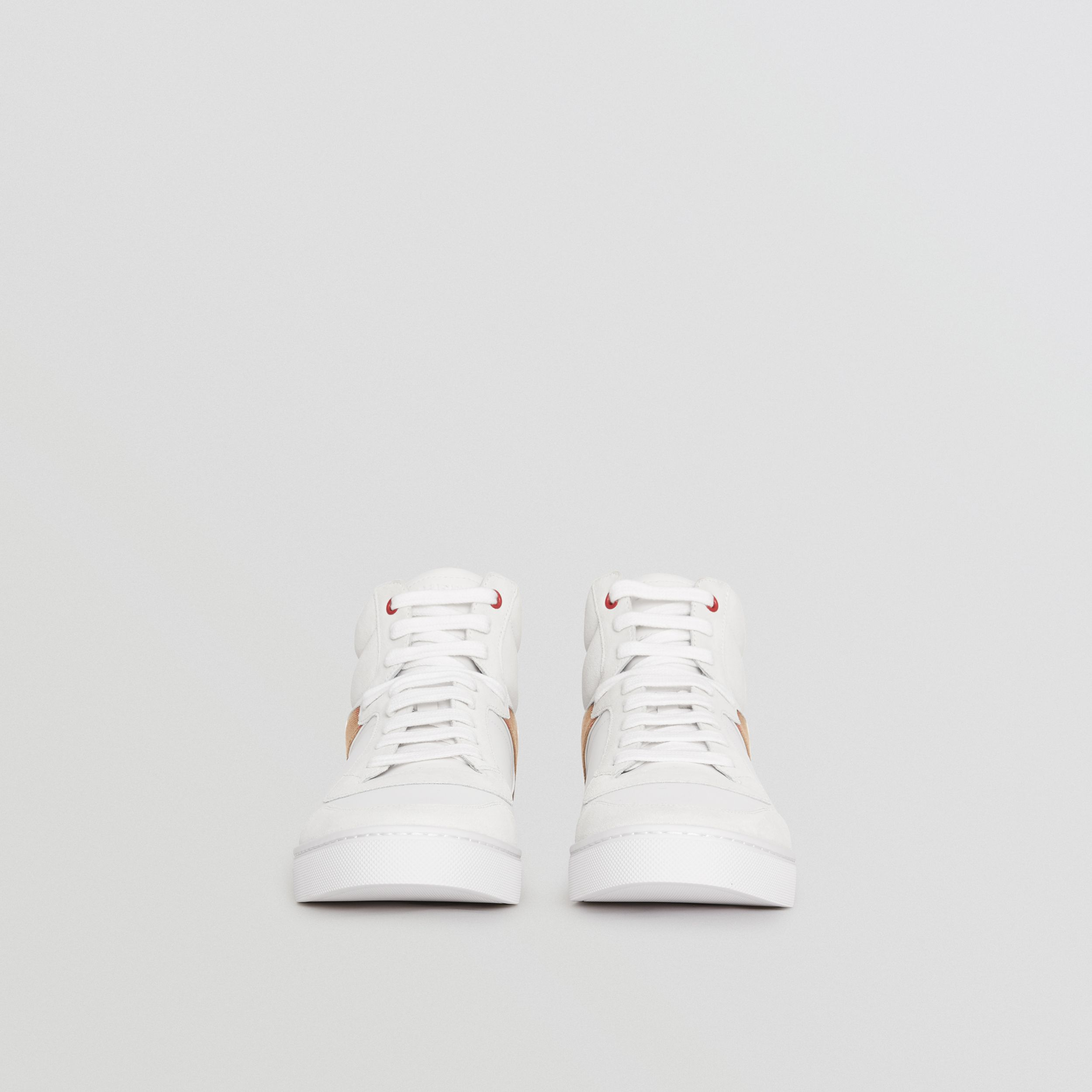Leather and House Check High-top Sneakers in Optic White - Men | Burberry - 4