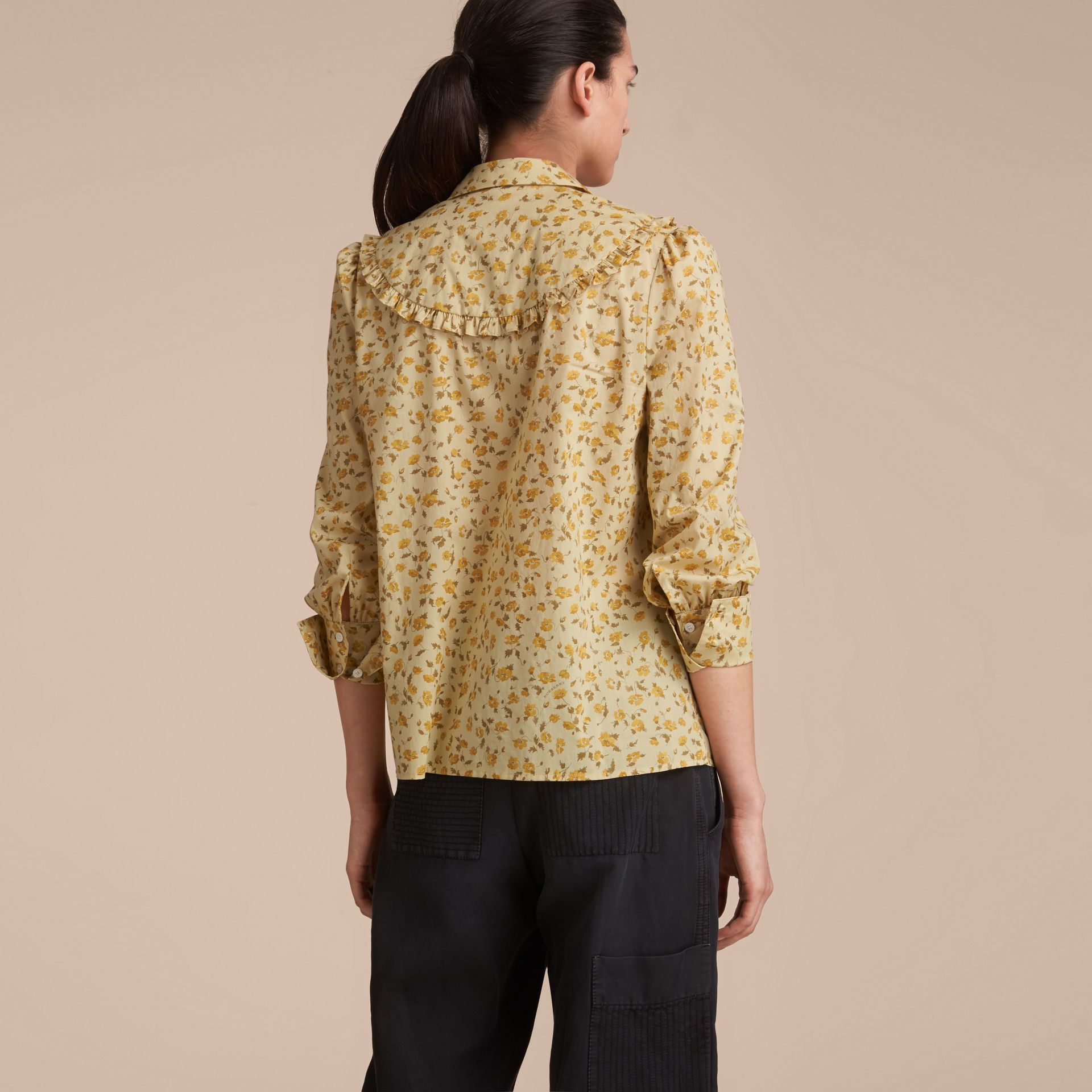 Ruffle Yoke Floral Print Cotton Shirt in Chalk Yellow - Women | Burberry - gallery image 3