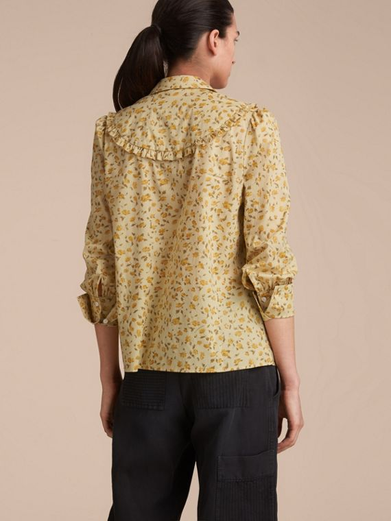 Ruffle Yoke Floral Print Cotton Shirt in Chalk Yellow - Women | Burberry - cell image 2