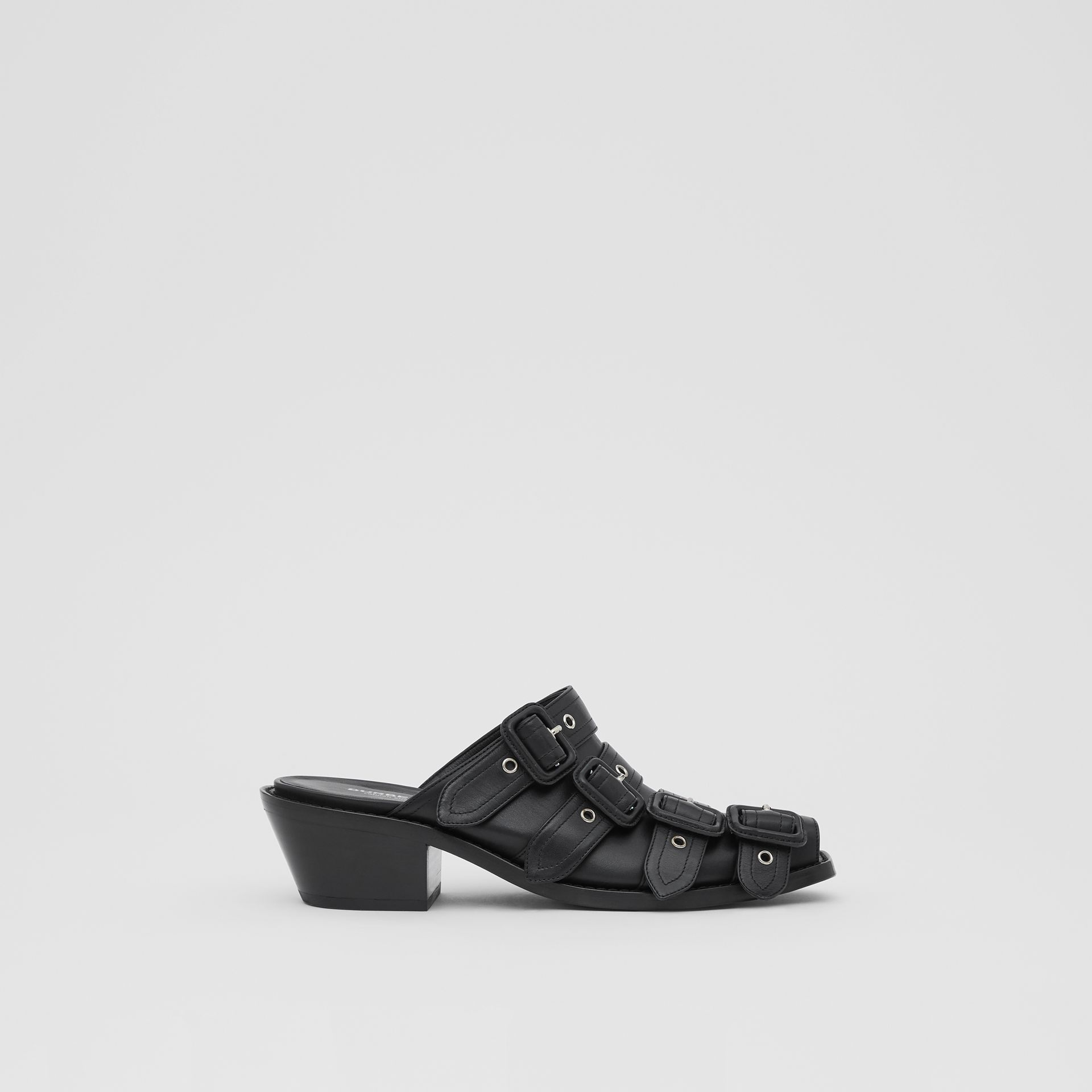 Buckled Leather Peep-toe Mules in Black - Women | Burberry Australia - gallery image 4