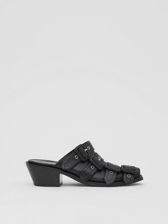 Buckled Leather Peep-toe Mules in Black