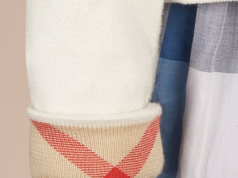 White Check Cuff Cotton Knit Cardigan White - cell image 1
