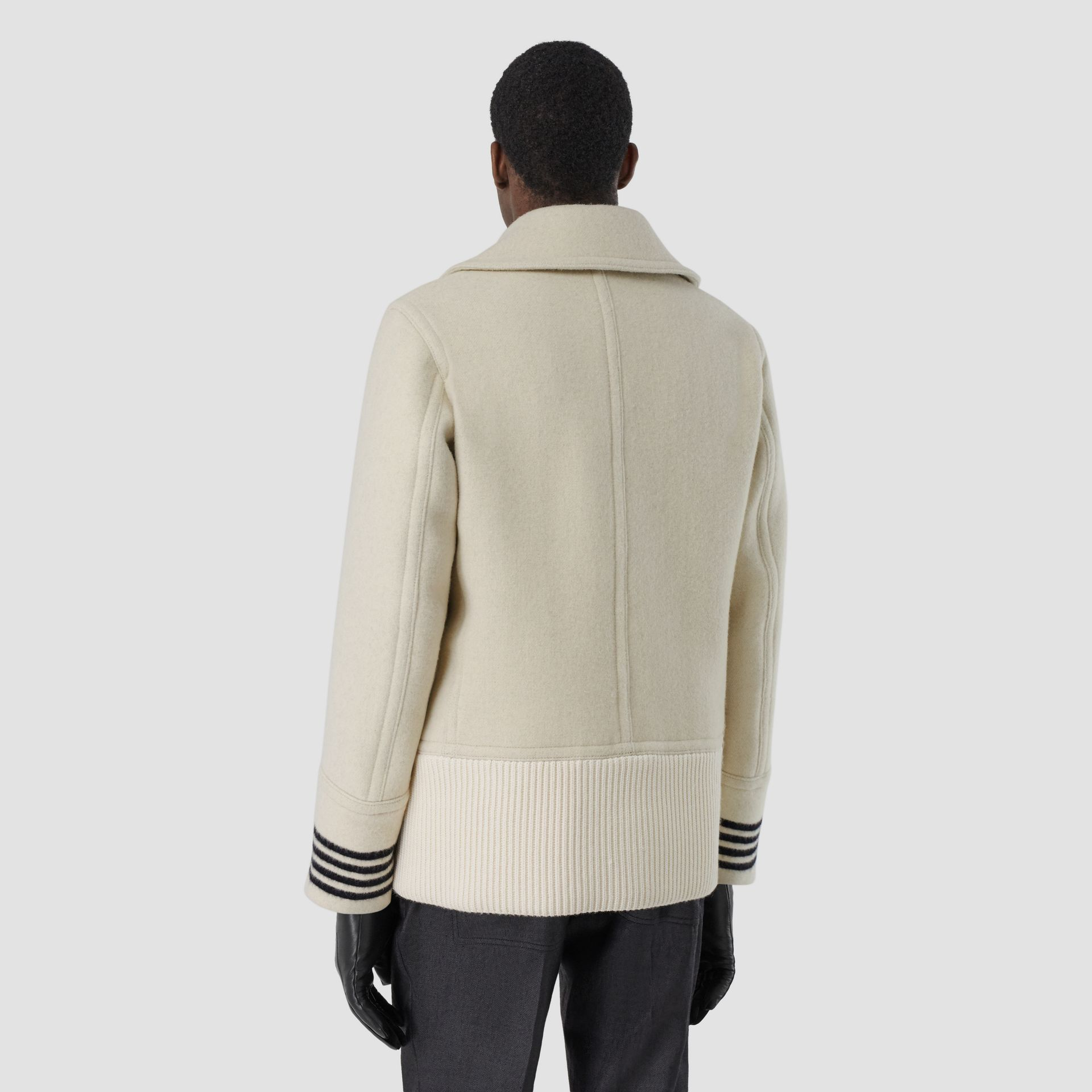 Striped Cuff Wool Pea Coat in White - Men | Burberry - gallery image 2