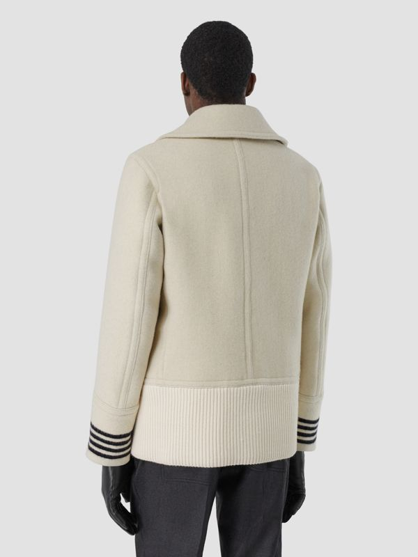 Striped Cuff Wool Pea Coat in White - Men | Burberry - cell image 2