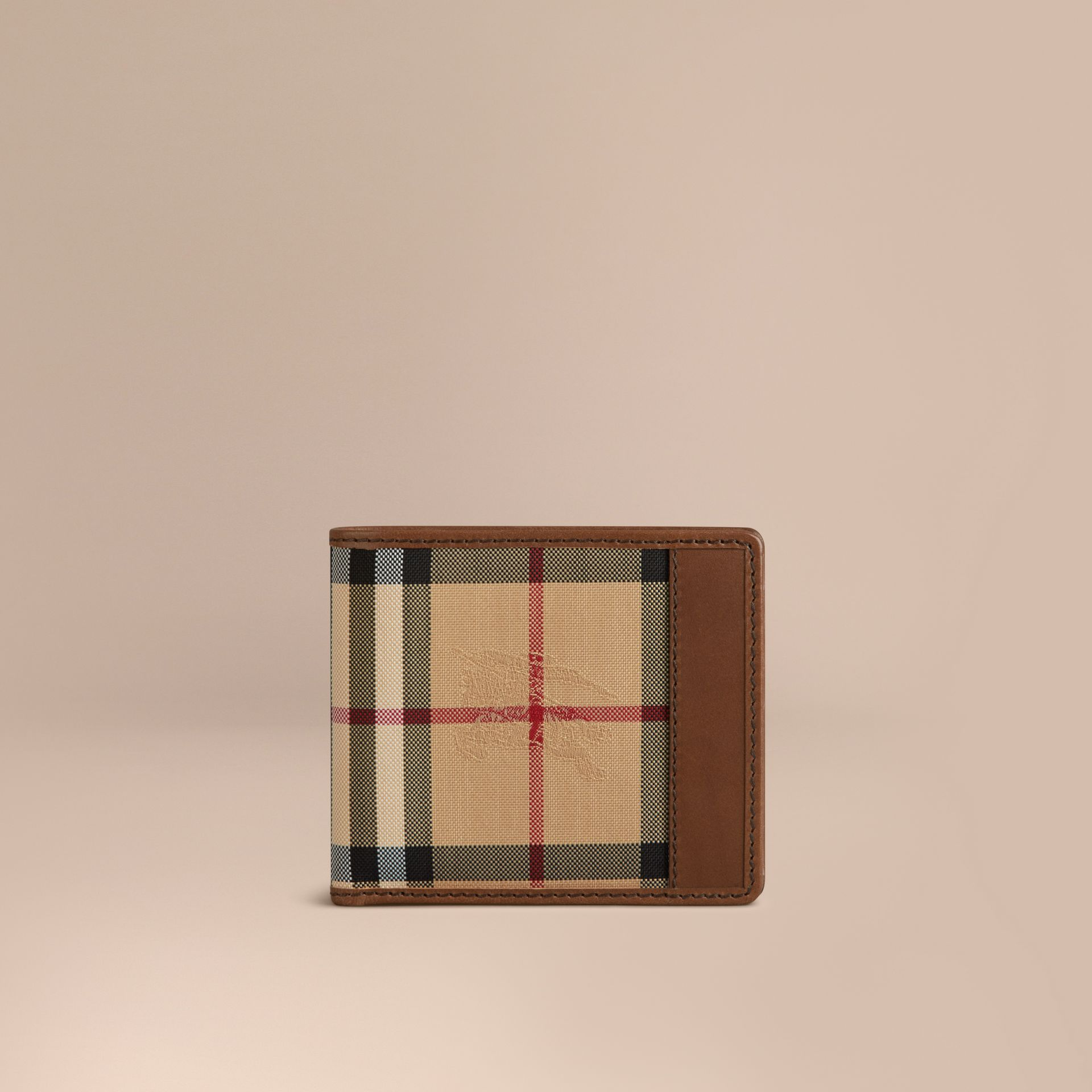 Tan Horseferry Check Folding Wallet Tan - gallery image 1