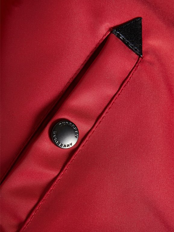 Colour Block Lightweight Bomber Jacket in Coral Red | Burberry - cell image 1