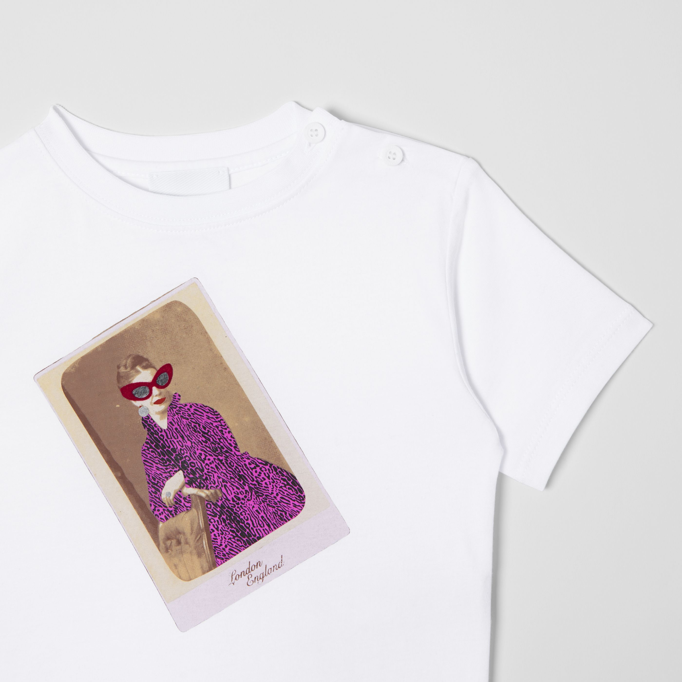 Collage Print Cotton T Shirt In White
