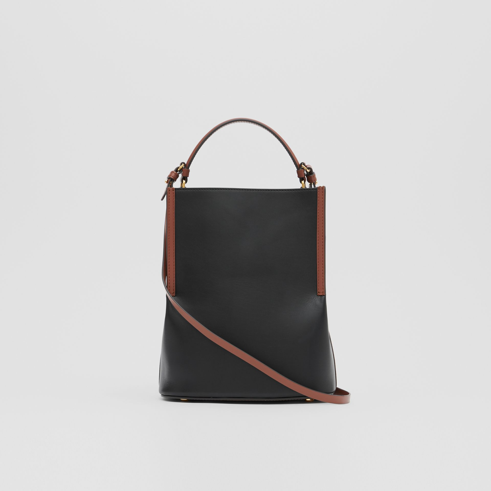 Small Two-tone Leather Peggy Bucket Bag in Black - Women | Burberry - gallery image 7