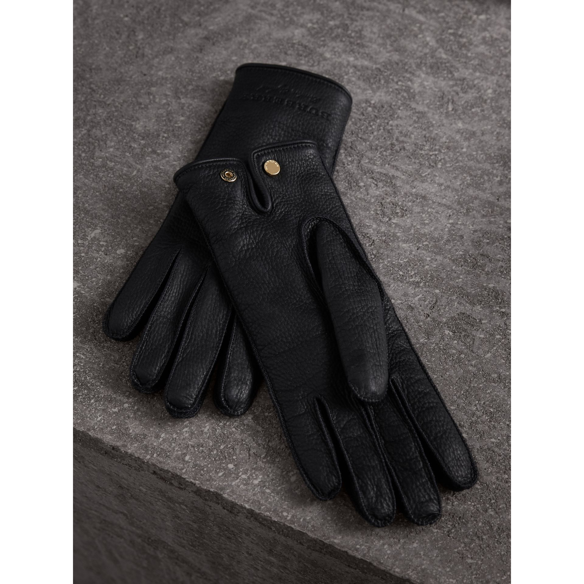 Deerskin Gloves in Black - Women | Burberry - gallery image 3