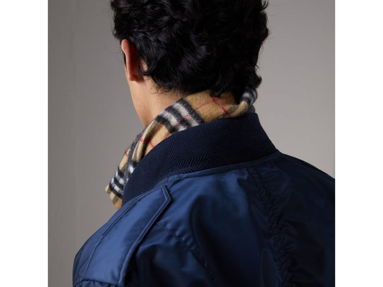 Zip Detail Cropped Bomber Jacket in Navy - Men | Burberry - cell image 4