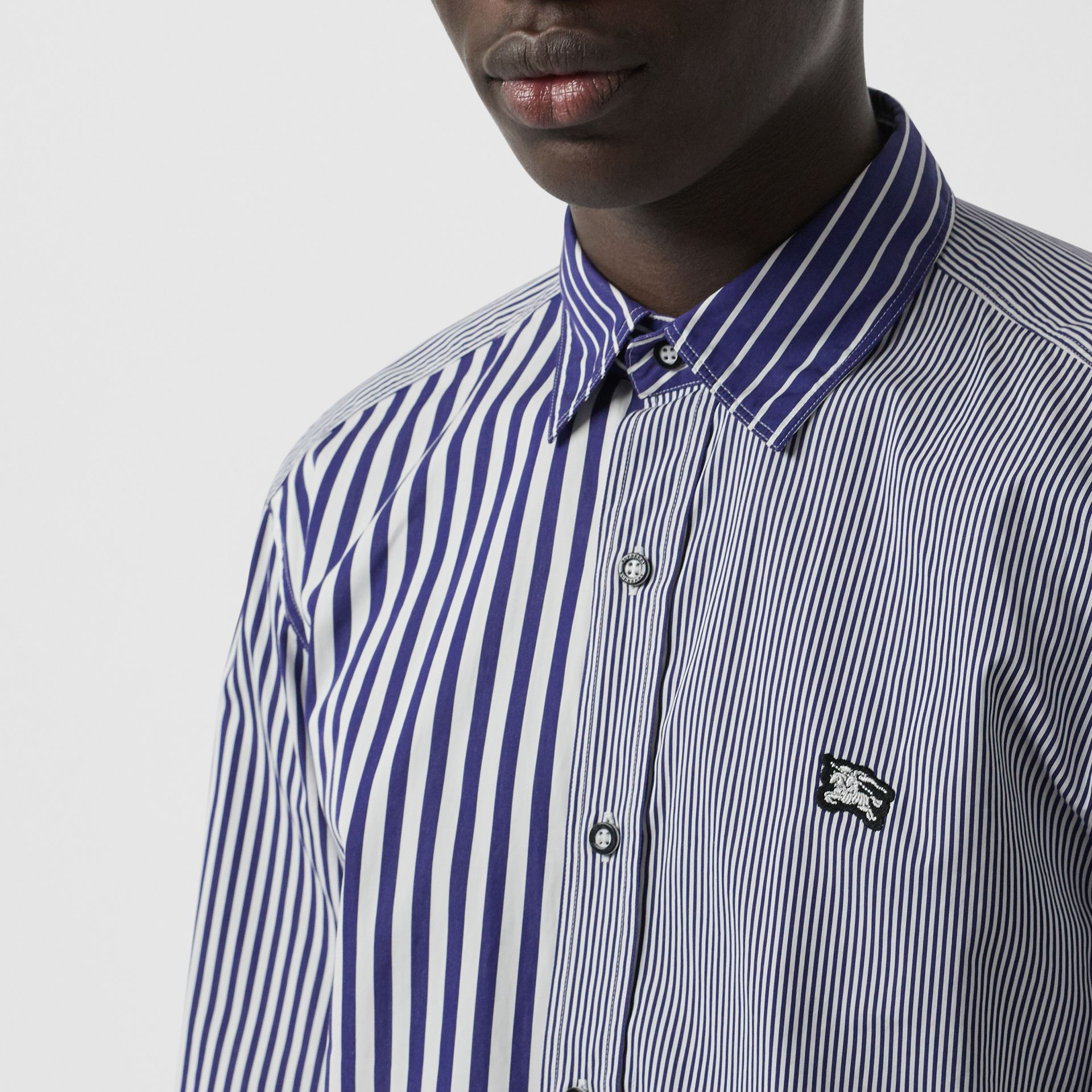Contrast Stripe Cotton Poplin Shirt in Navy - Men | Burberry - gallery image 1