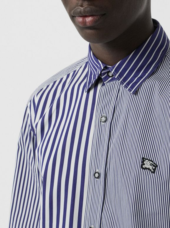 Contrast Stripe Cotton Poplin Shirt in Navy - Men | Burberry - cell image 1