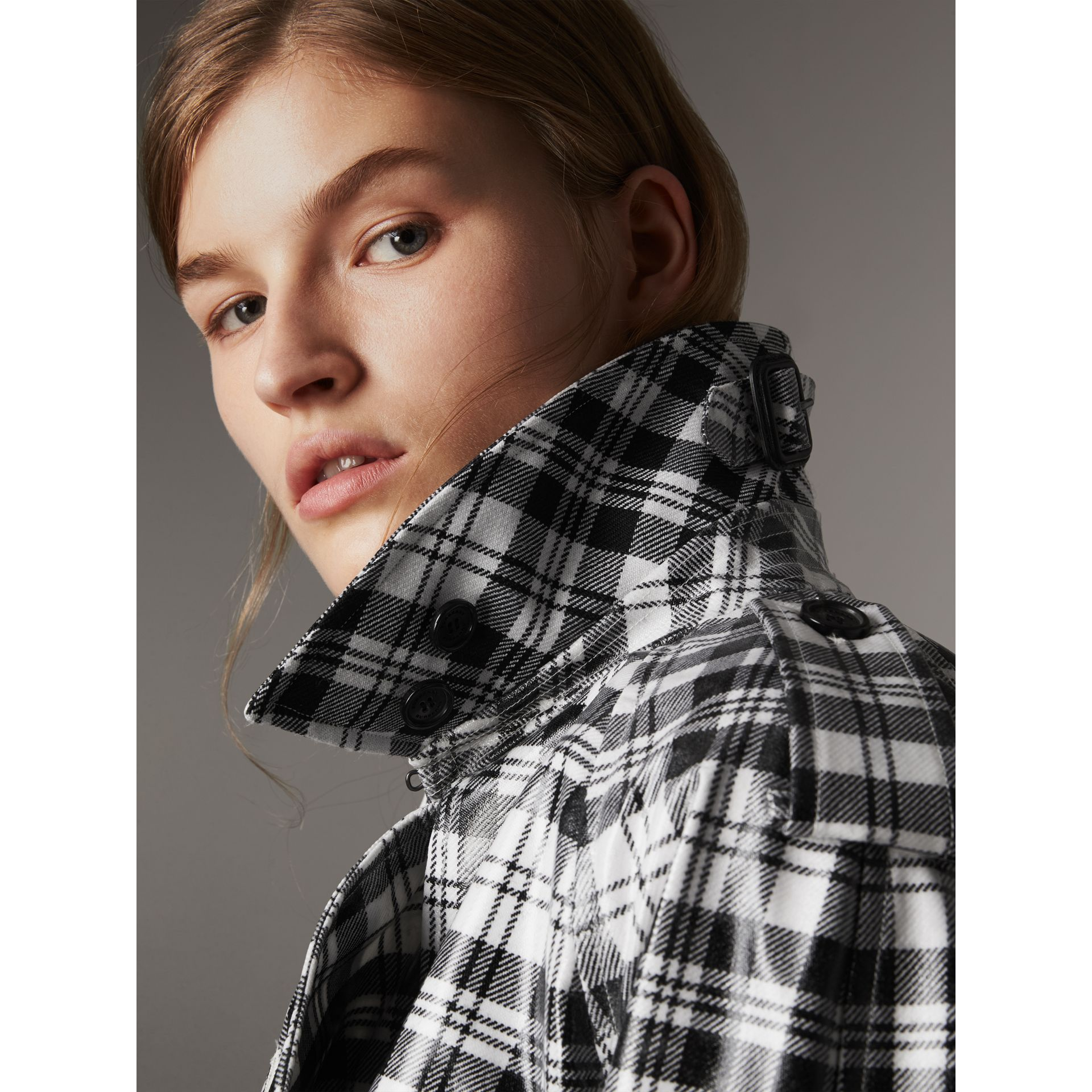 Laminated Tartan Wool Trench Coat in Black/white - Women | Burberry - gallery image 4