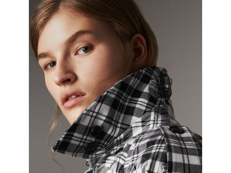 Laminated Tartan Wool Trench Coat in Black/white - Women | Burberry - cell image 4