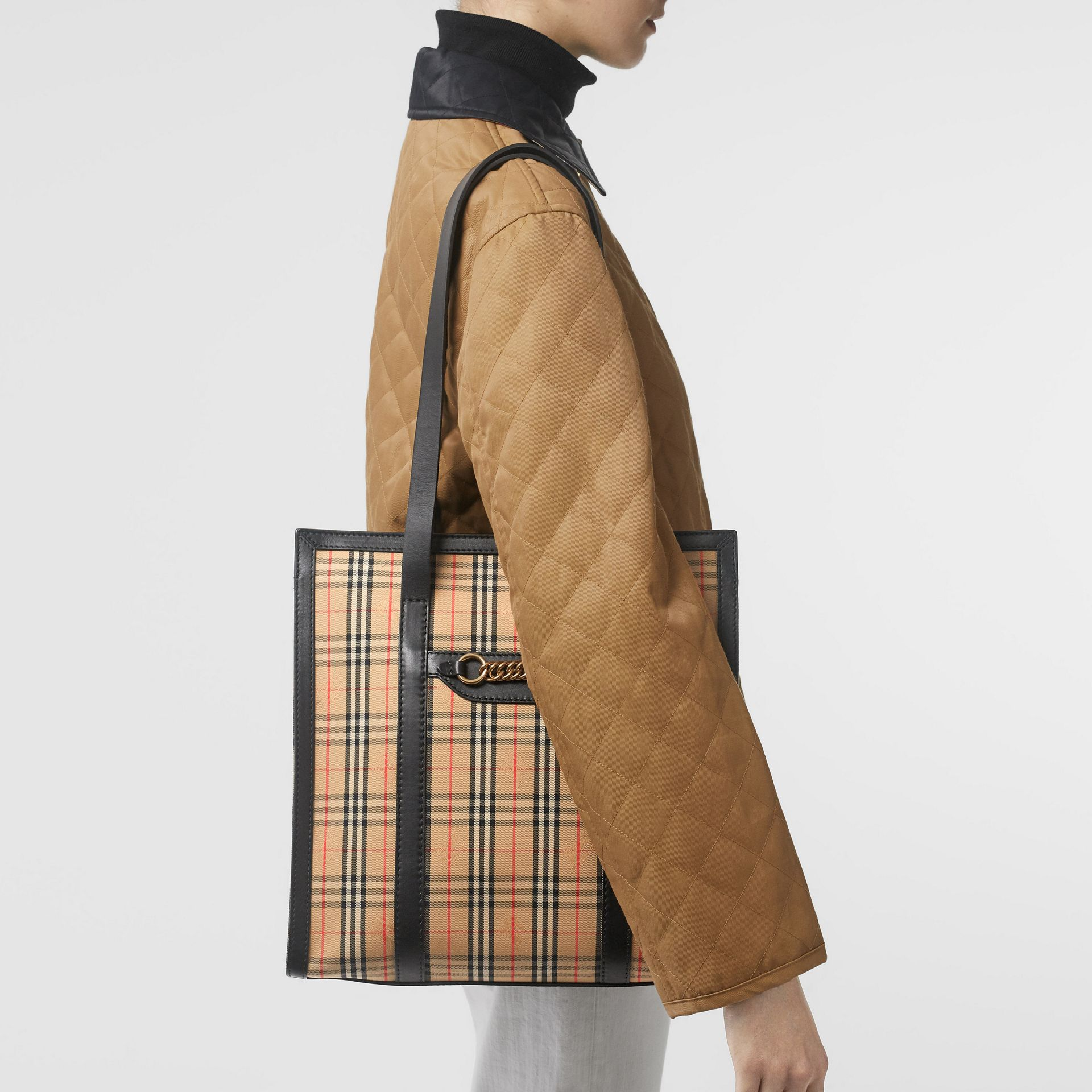 The Small 1983 Check Link Tote Bag in Black - Women | Burberry Australia - gallery image 2