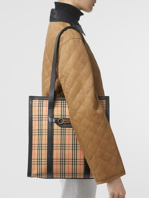 The Small 1983 Check Link Tote Bag in Black - Women | Burberry United Kingdom - cell image 2