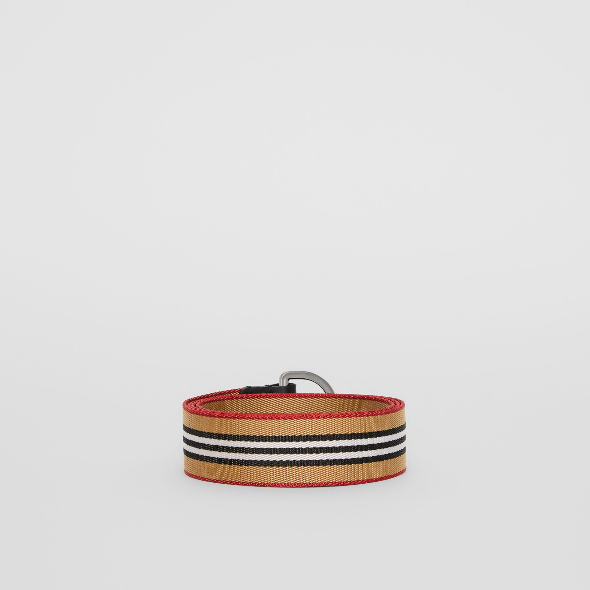 Icon Stripe Double D-ring Belt in Antique Yellow - Men | Burberry United States - gallery image 4