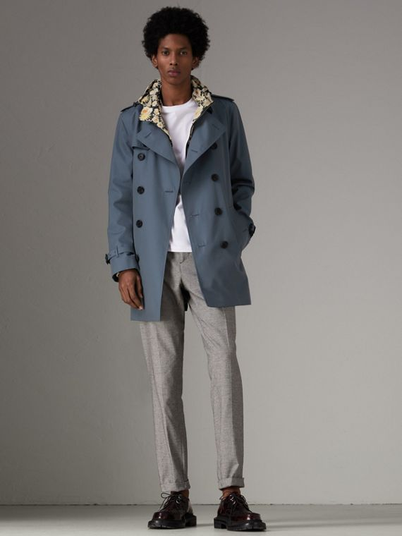 Trench coat in gabardine di cotone (Blu Impero)