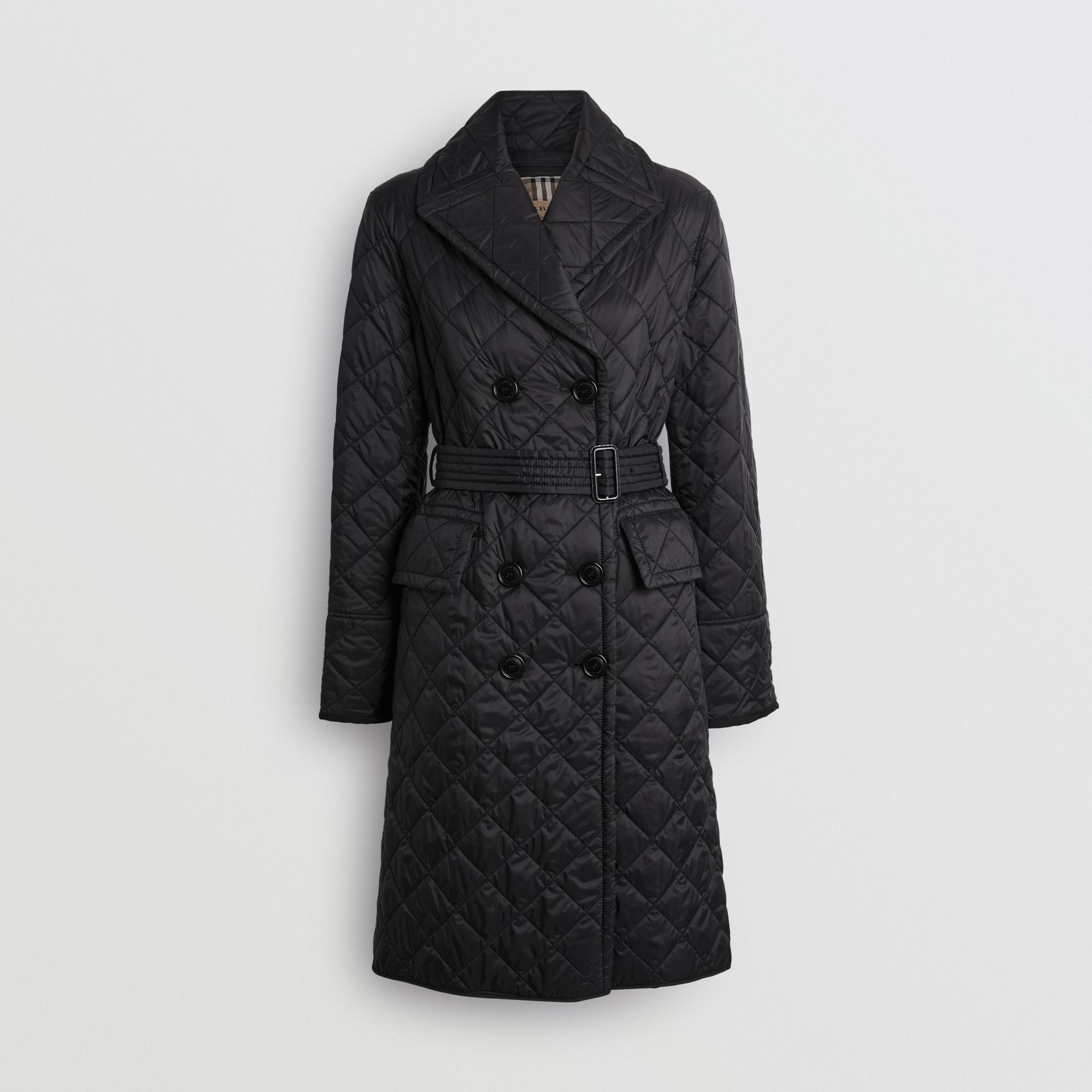 Lightweight Diamond Quilted Coat in Black - Women | Burberry - gallery image 3