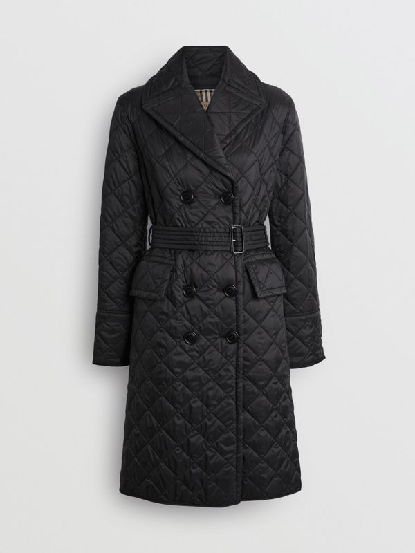 Lightweight Diamond Quilted Coat in Black - Women | Burberry - cell image 3