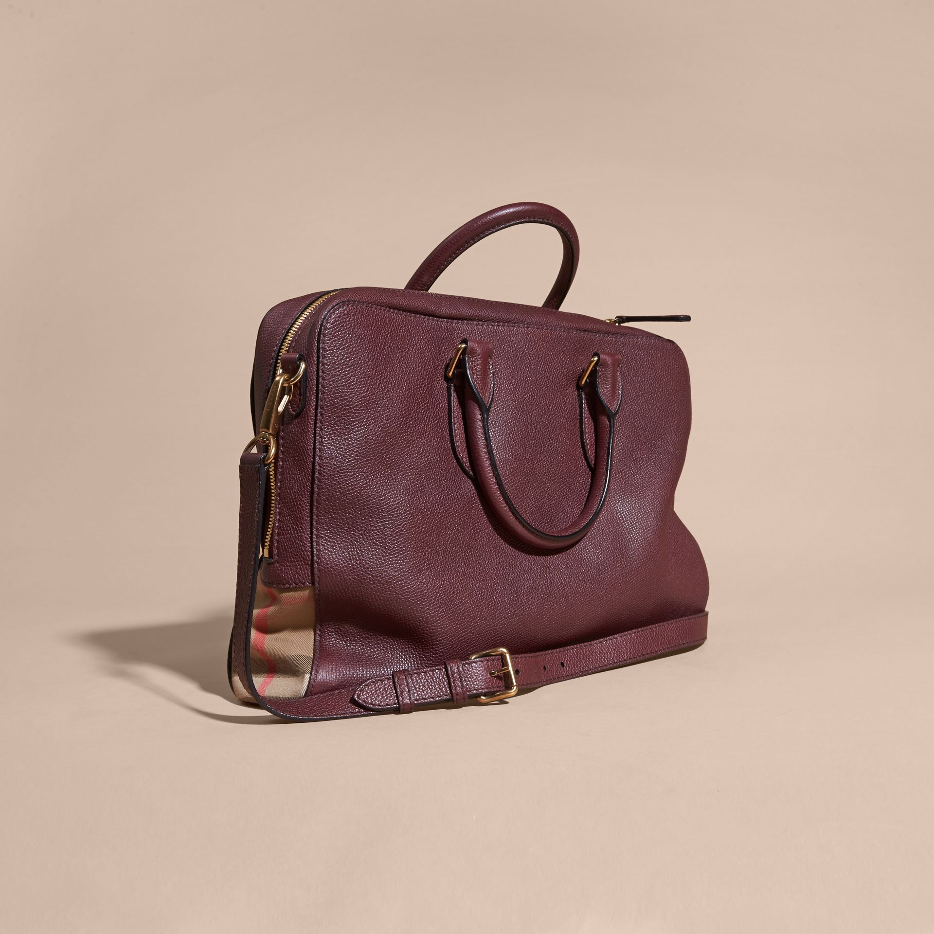 Leather and House Check Briefcase Wine - gallery image 5