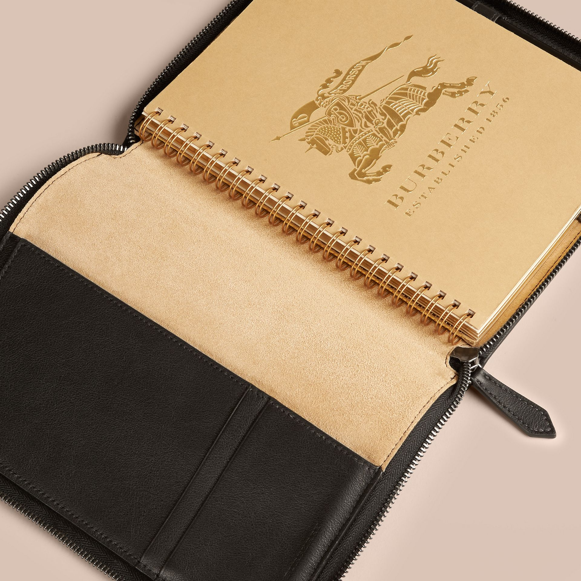 Black Ziparound Leather and Horseferry Check Detail A5 Notebook - gallery image 3