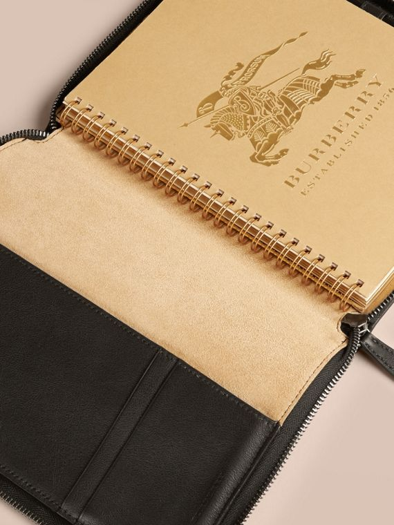 Black Ziparound Leather and Horseferry Check Detail A5 Notebook - cell image 2